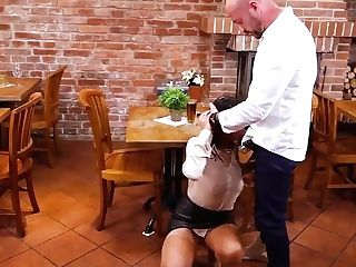 Clothed Black-haired Bimbo In High High-heeled Shoes Tera Joy Is Hungry For Hard Fucking And Pissing In This Scene